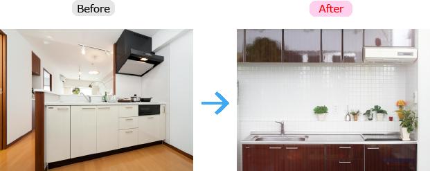 限られたスペースを有効活用するI型キッチンへ変更
