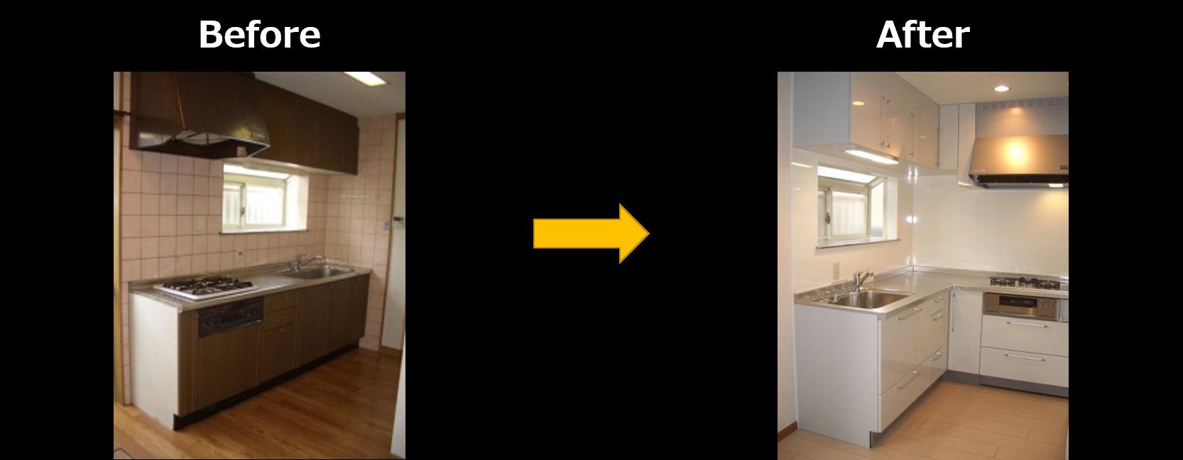 プラン3.L型キッチンにリフォーム