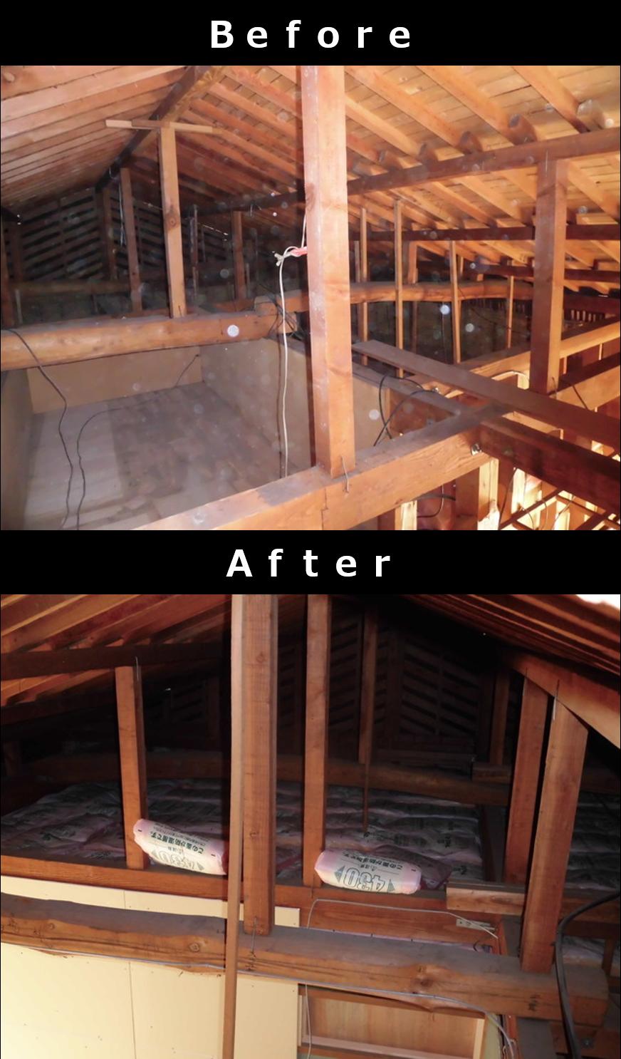 例2 断熱まで施した屋根裏収納