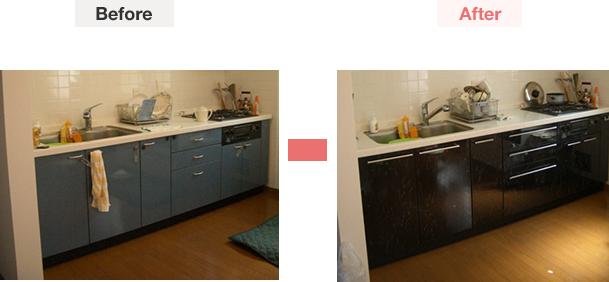 大理石調の扉で高級感あるキッチンへリフォーム