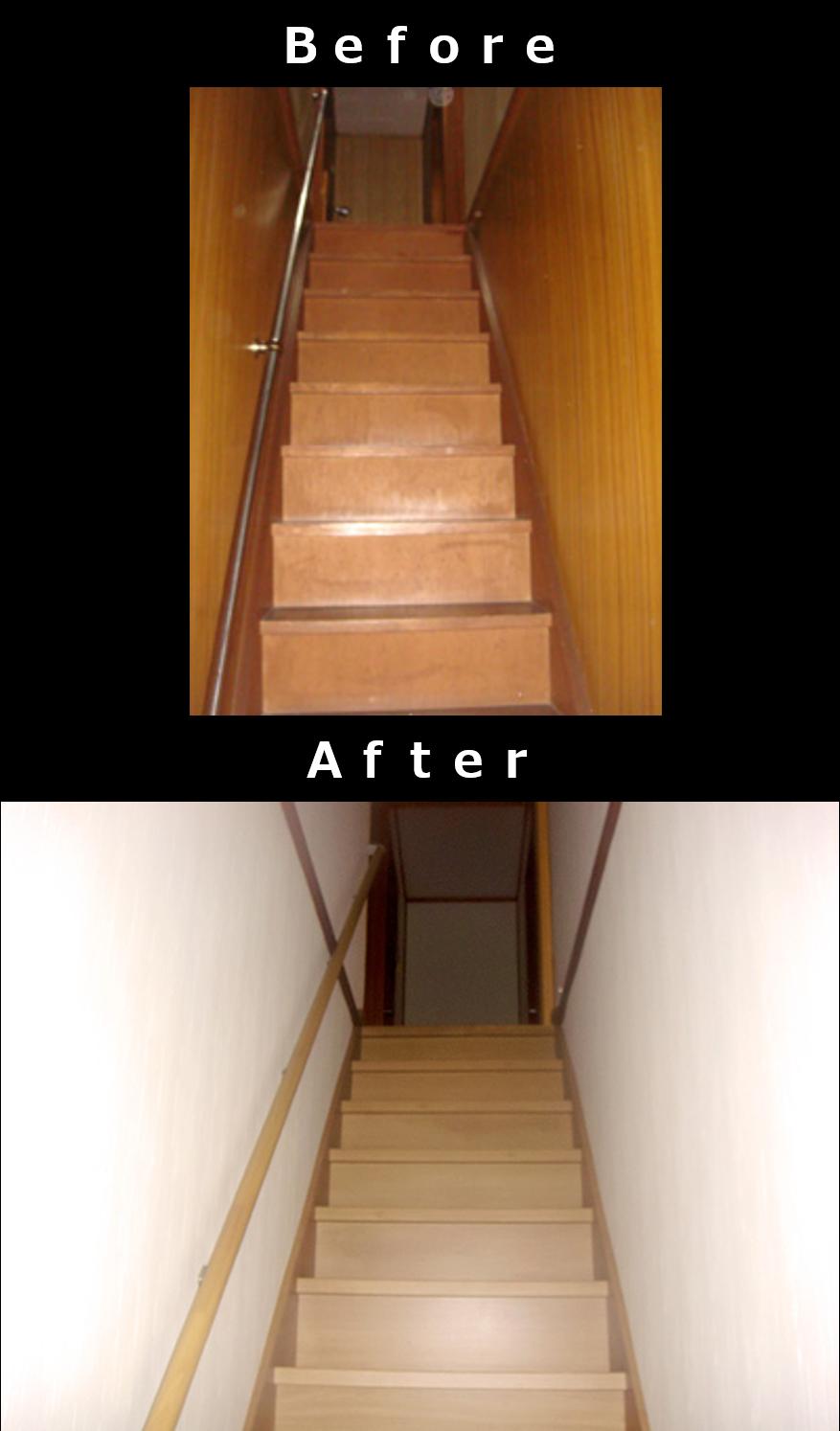 急な階段をゆるい階段にする(段数の変更、階段の再構築)