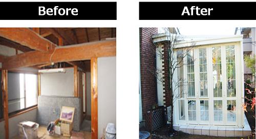 もともとあった一室を解体し、テラス囲みサンルームを設置した事例(費用:310万円)