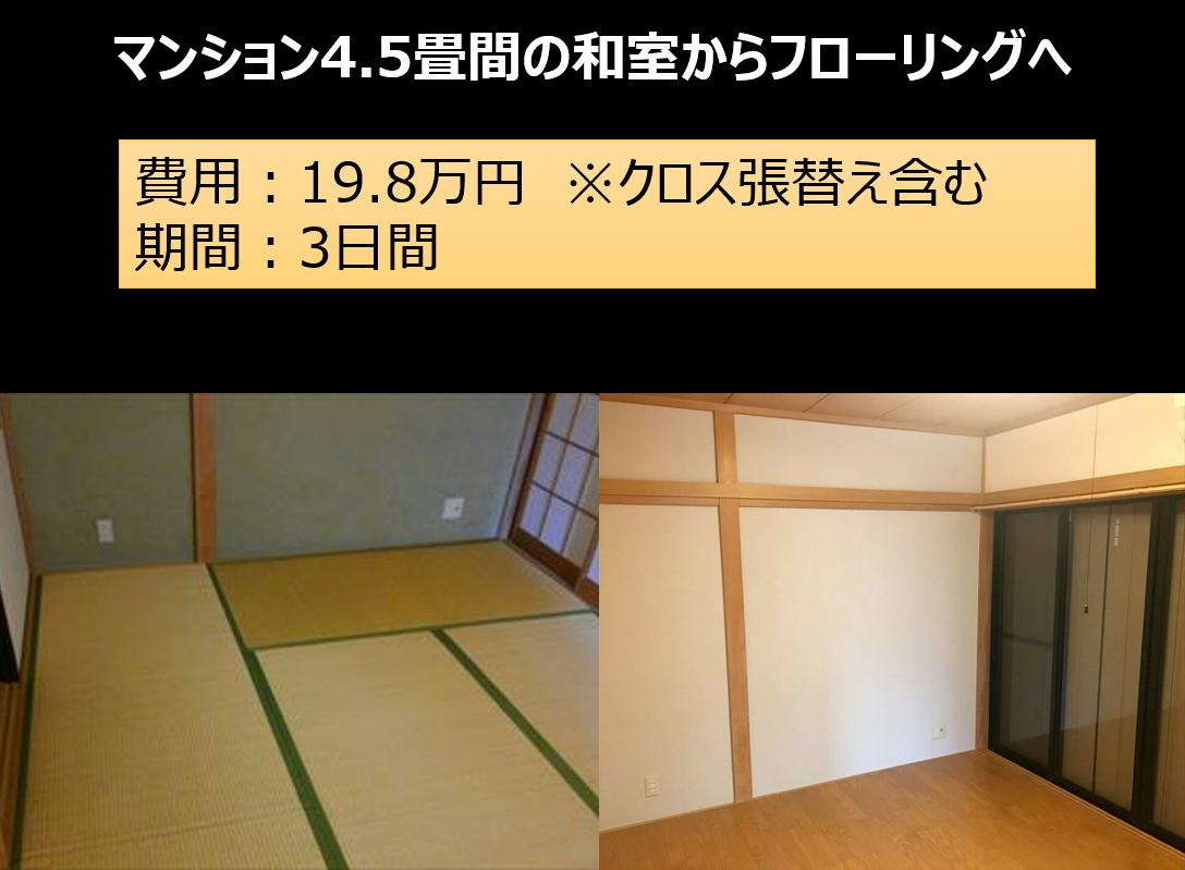 マンション4.5畳間の和室からフローリングへ